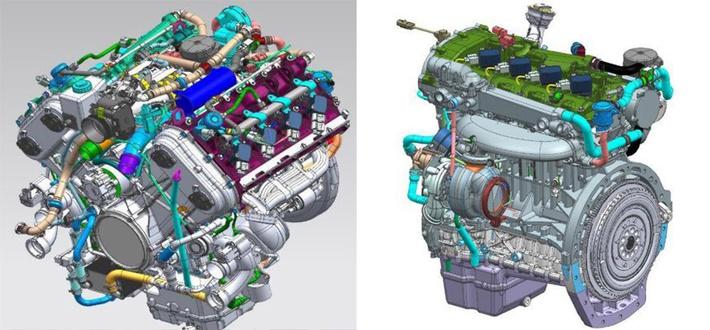 Перспективные двигатели НАМИ: V8 (слева) и рядная турбочетверка