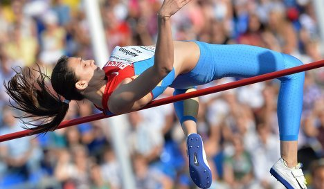 Мария Кучина (Россия) в финальных соревнованиях по прыжкам в высоту