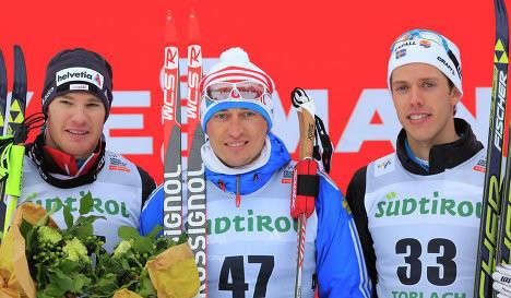 Маркус Хеллнер, Александр Легков и Дарио Колонья (слева направо)