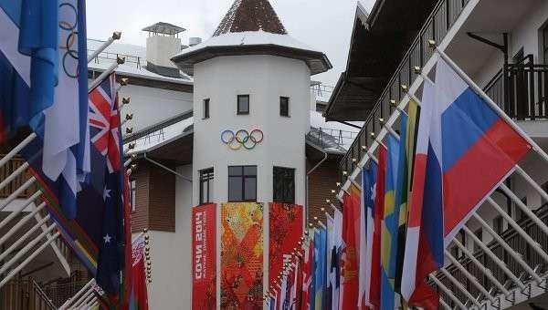 Главная Олимпийская деревня в горном кластере XXII Олимпийских зимних игр в Красной Поляне