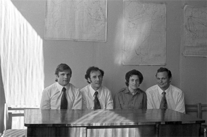 Фото на память перед началмо 6-месячного эксперимента в «БИОС-3», слева направо: Николай Бугреев, Владислав Терских, Мария Шиленко и Николай Петров.