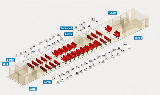Схема 2-этажного вагона