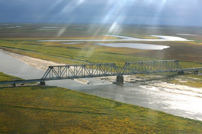 2009.09.24 Железнодорожныый мост через Юрибей (ж-д магистраль Обская - Бованенково) - 3900м