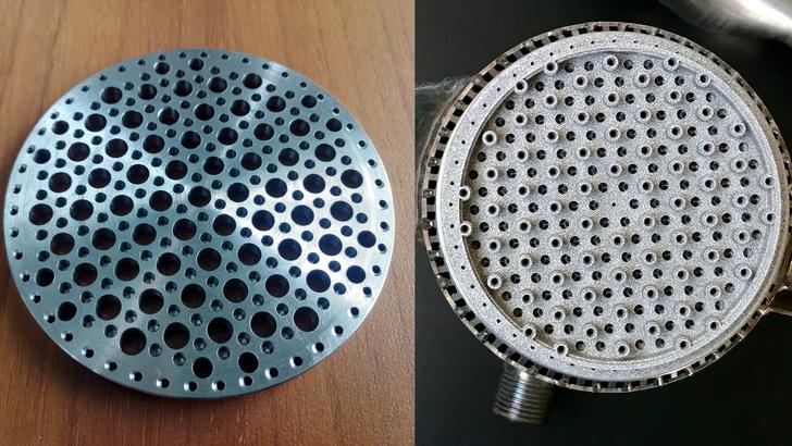 Смесительная головка, выполненная традиционными методами (слева), и напечатанная