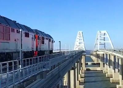 Тестовые поезда на Крымском мосту. Декабрь 2019.|Фото: twitter.com/crimeainform|Крыминформ