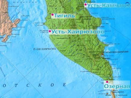 Ваздушные гавани Усть-Хайрюзово, Усть-Камчатска, Тигиль, Озерная на карте Камчатки