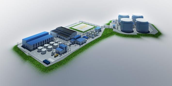 Модель биологических очистных сооружений на Московском нефтеперерабатывающем заводе.