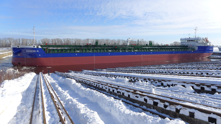 Завод «Красное Сормово» спустил на воду танкер проекта RST27 Рioneer-2 для CMS