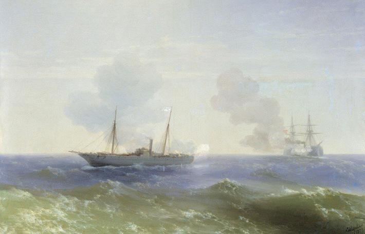 """Айвазовский И. К. 1887, """"Бой парохода """"Веста"""" с турецким броненосцем """"Фетхи-Буленд"""" в Чёрном море 11 июля 1877 года"""""""