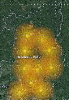 Схема расположения сети БС в Пермском крае