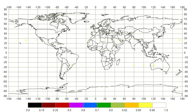 Интегральная доступность навигации наземного потребителя по системе ГЛОНАСС (PDOP<=6) на суточном интервале: угол места не менее 5 градусов. Дата: 05.03.2013г. По целевому назначению используются 24 КА (1,2,3,4,5,6,7,8,9,10,11,12,13,14,15,16,17,18,19,20,21,22,23,24) Интегральная доступность глобально: 100.0% Интегральная доступность по России: 100.0%