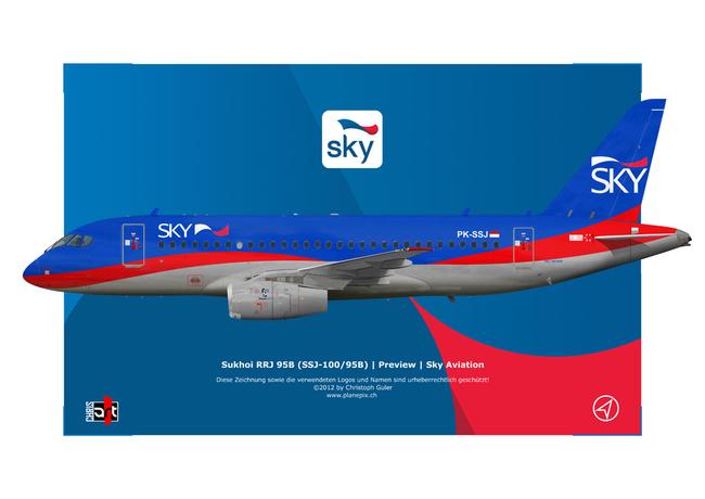 SSJ-100 в ливрее Sky Aviation