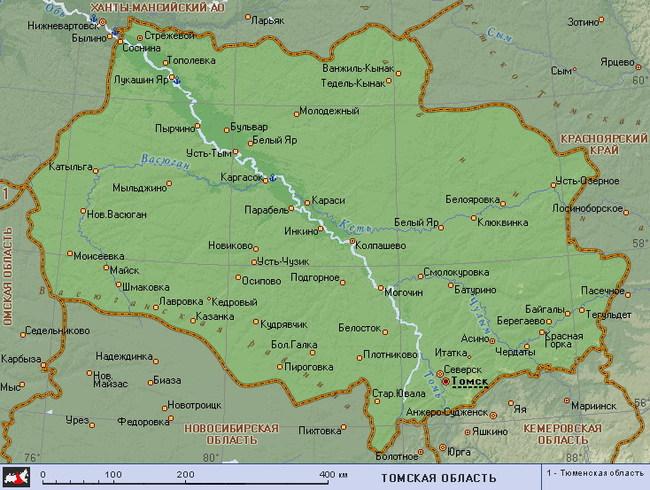 Карта Томской области. Представьте себе, как будут выглядеть охотничьи угодья