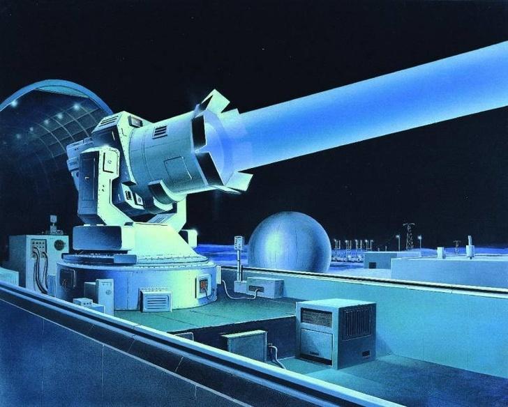 """Комплекс """"Терра-3"""" в представлении американского художника. По-видимому, зарубежные аналитики приняли замеченный локатор ЛЭ-1 или телескоп ТГ-1 за боевой лазер"""