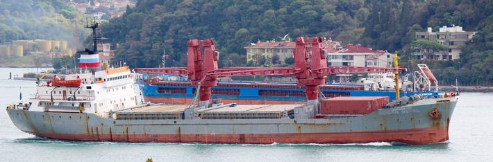 Быбший турецкий сухогруз Alican Deval под флагом вспомогательного судна ВМФ России и названием «Двиница-50»