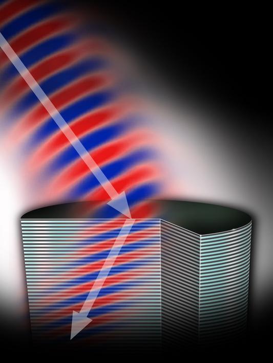 Прохождение света через метаматериал с «левосторонним» коэффициентом преломления
