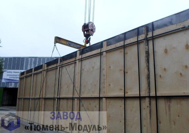Отгрузка упакованных блок-боксов модульного здания лаборатории