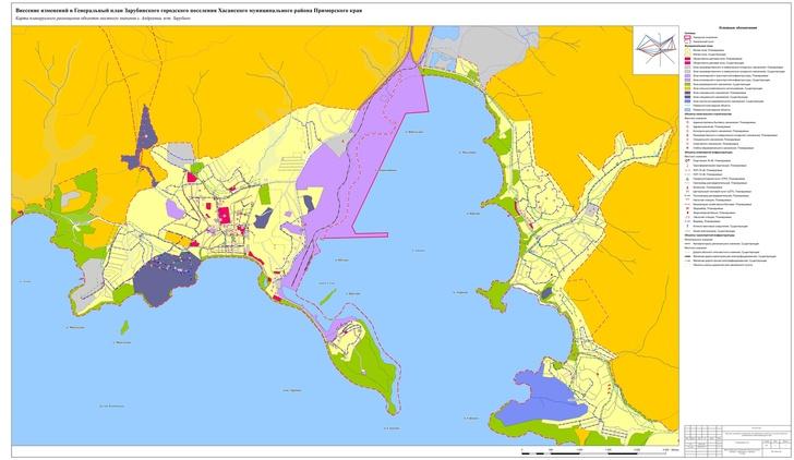 Карта перспективного строительства планируемого зернового терминала и поселков городского типа Зарубино и Андреевка в бухте Троицы. Схема увеличивается по клику