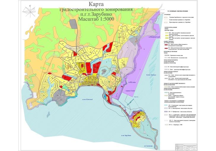 Карта градостроительного зонирования поселка Зарубино и зернового терминала. Схема увеличивается по клику