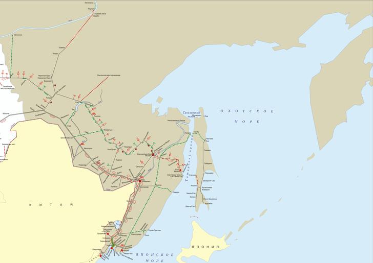 Схема развития железных дорог на Дальнем Востоке и Приморье. Схема увеличивается по клику