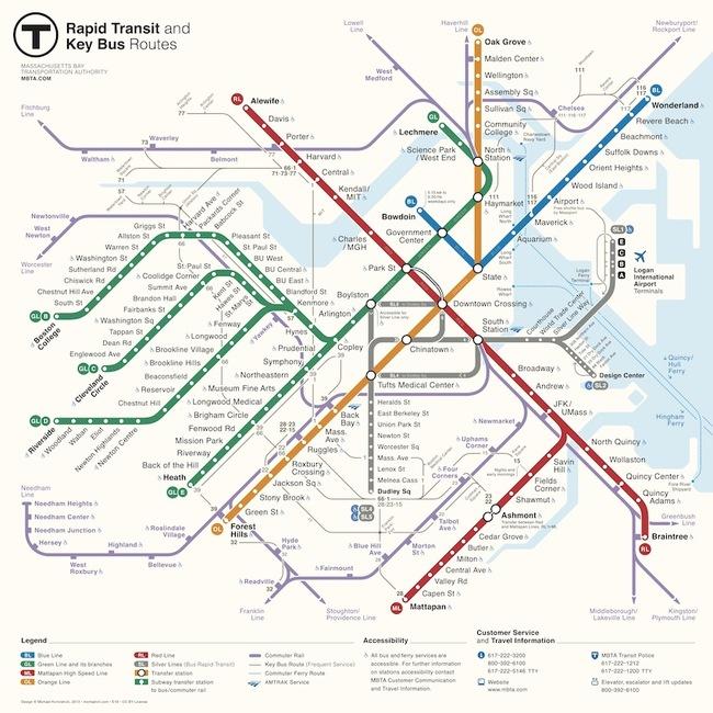 Карта метро г бостон схема