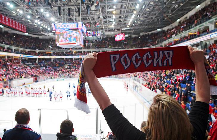 Болельщики сборной России на матче Кубка Первого канала между сборными России и Финляндии