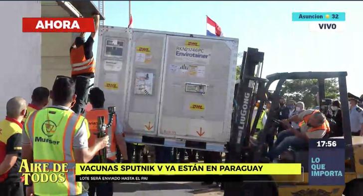 @SomosGEN Первая партия вакцины «Спутник V» прибыла в 17:30 в аэропорт Сильвио Петтиросси Асунсьона