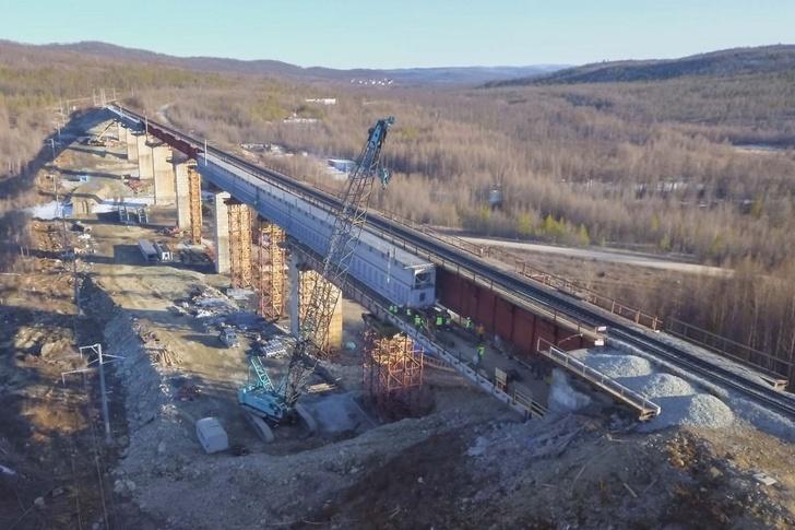Строительство железнодорожного моста через Кованту на БАМе