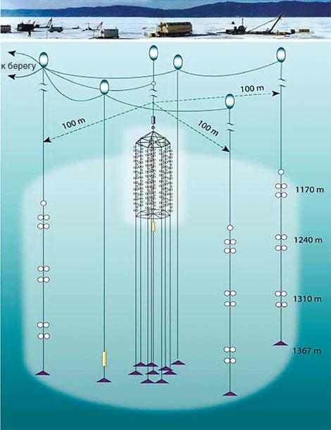Схема одного кластера Байкальского нейтринного телескопа