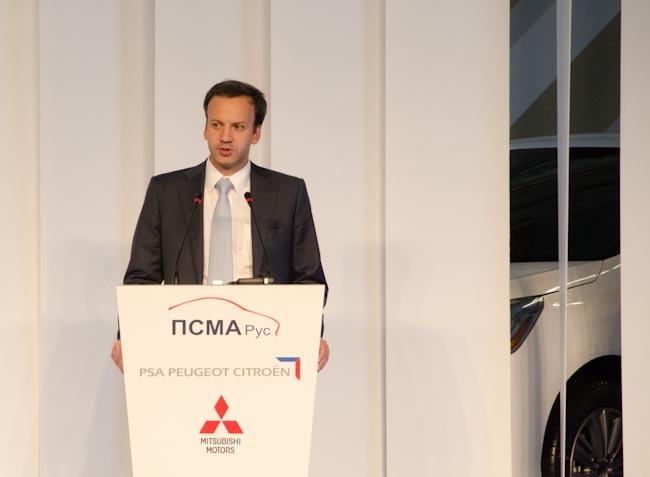 Вице-премьер РФ Аркадий Дворкович выступает на церемонии торжественного открытия цикла полной сборки на заводе ПСМА Рус