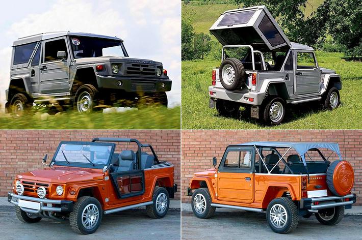 C 2003 по 2011 годы собрали около десятка «Сталкеров»: оранжевая машина — с дизельным двигателем ВАЗ-341 и задним приводом, а серебристая — с бензиновым мотором и полным приводом