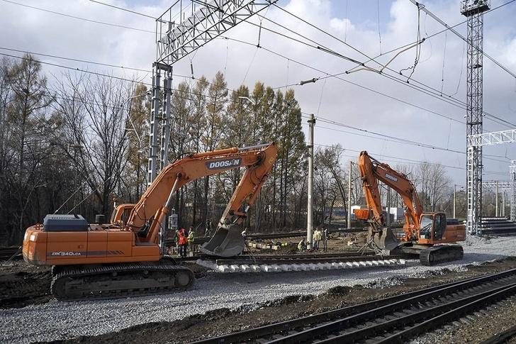 В процессе строительных работ. Фото службы корпоративных коммуникаций Дальневосточной железной дороги