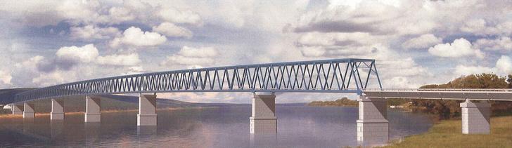 Проект мостового перехода через Енисей, вид правого берега