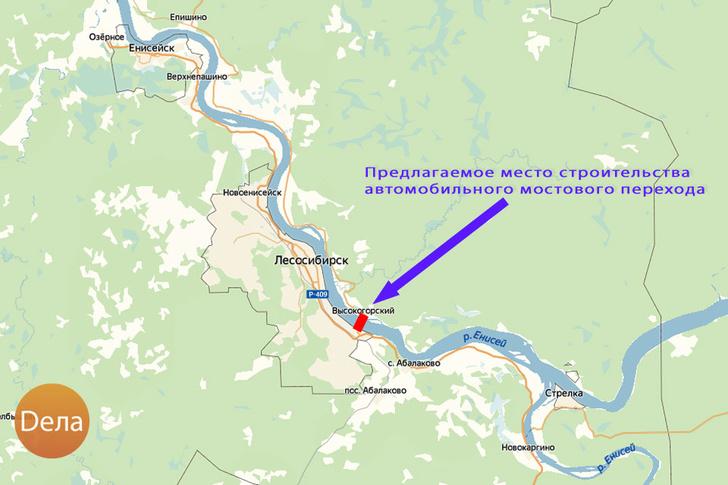 Мост будет расположен на Енисее чуть ниже впадения в него Ангары