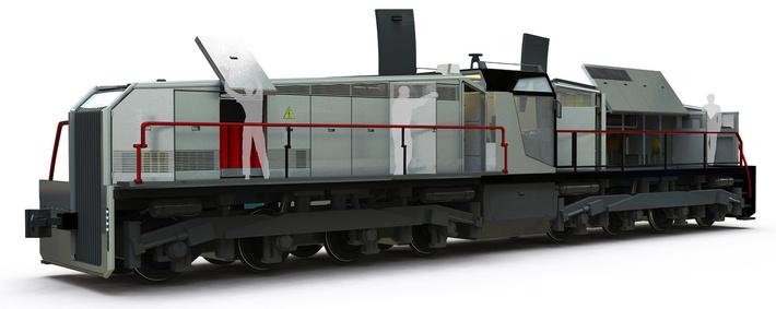 Обслуживание локомотива с подъемной площадки