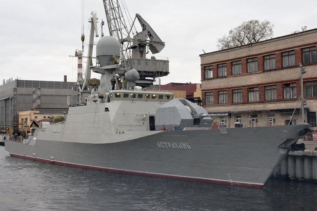 """Корвет  """"Астрахань """" - головной корабль в серии малых артиллерийских кораблей проекта 21630 (шифр  """"Буян """"..."""