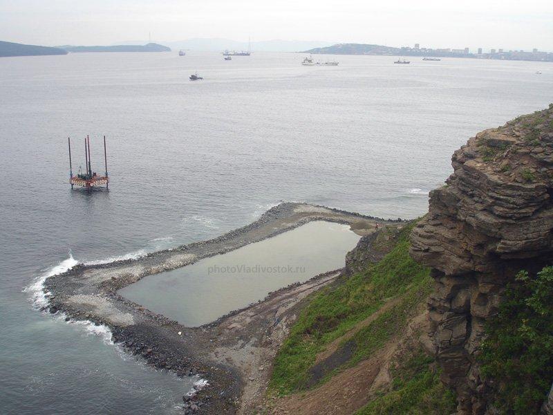 Строительство моста на остров Русский с мыса Артур. АТЭС 2012