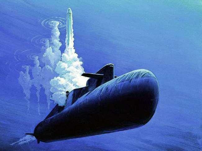 667БРДМ «Дельфин» делает залп «Синевой». Красивая картинка, правда? Для тех кто смотрит, а не для тех, кто получает наши ракеты))