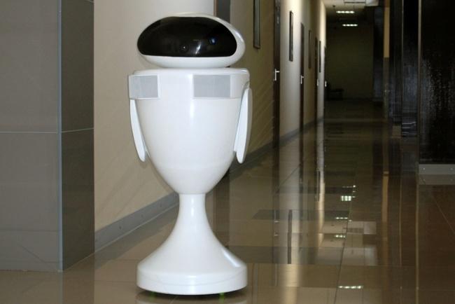 Информационно-сервисный робот SR-200 — обеспечивает живое общение с клиентами, голосом и мимикой способен выражать человеческие эмоции, передвигается со скоростью до 8 км в час