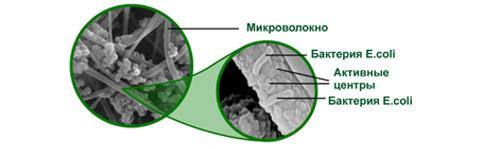 волокна нового сорбционного материала под микроскопом (иллюстрация ООО «Аквелит»)